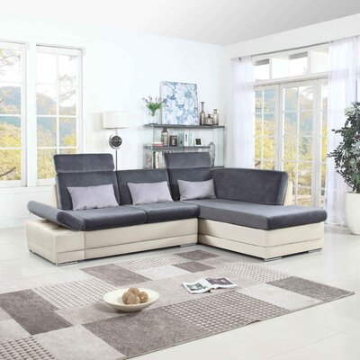 Johnar Sectional Upholstery: White/Dark Gray