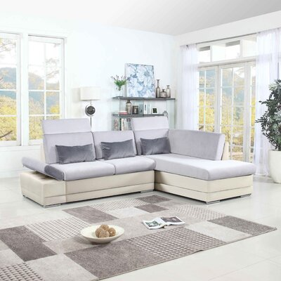 Johnar Sectional Upholstery: White/Light Gray