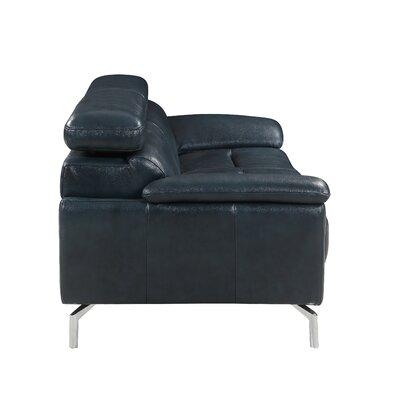 Demar Mid Century Modern Top Grain Leather Sofa