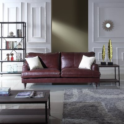 Auberto Classic Victorian Top Grain Leather Sofa Upholstery: Brown