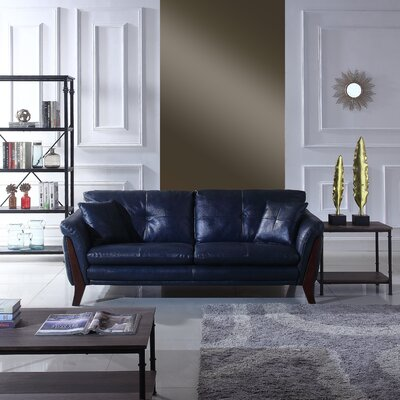 Makeba Mid-Century Modern Real Leather Sofa Upholstery: Navy