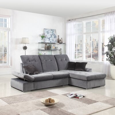 Hymel Two Tone Brush L-Shape Sectional Upholstery: Dark Gray/Dark Gray