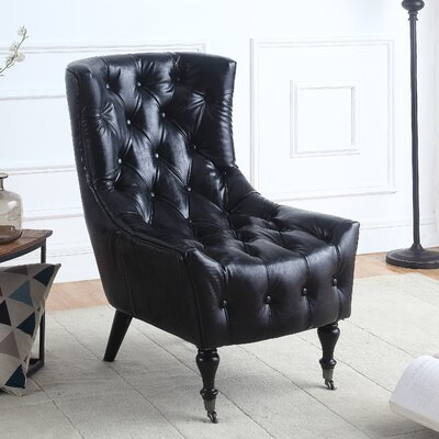 Ridenour Classic Wingback Chair Upholstery: Black
