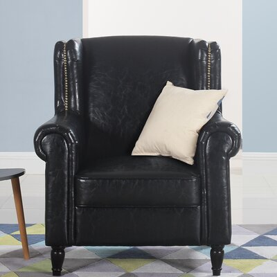 Riverwoods Classic Wingback Chair Upholstery: Black
