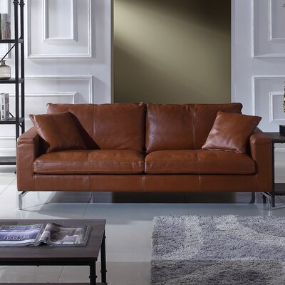 Nyyear Mid Century Modern Plush Top Grain Leather Sofa
