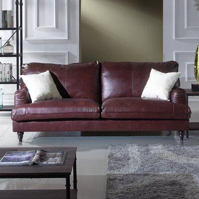 Auberto Classic Victorian Top Grain Leather Sofa