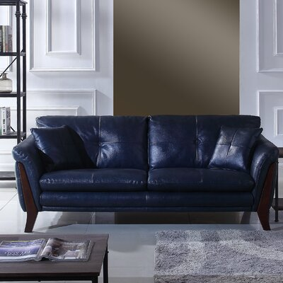 Makeba Mid-Century Modern Real Leather Sofa