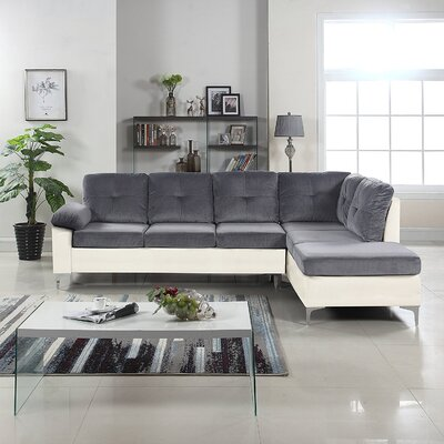 Kincade Contemporary Microfiber/Faux Sectional Color: White/Dark Gray