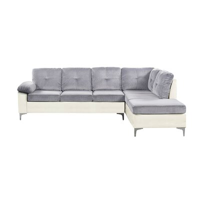 Kincade Contemporary Microfiber/Faux Sectional Color: White/Light Gray