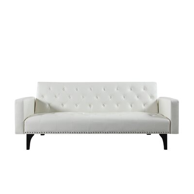 Rathbun Modern Tufted Reclining Sleeper Sofa Upholstery : White