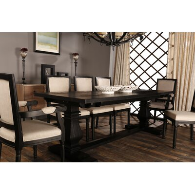 Raymund Distressed Upholstered Dining Chair Frame Color: Black/Beige