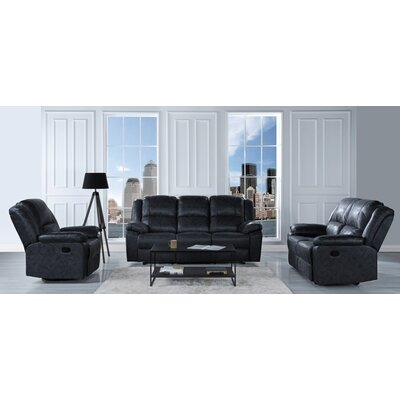 Bramhall Oversize and Overstuffed Recliner 3 Piece Living Room Set