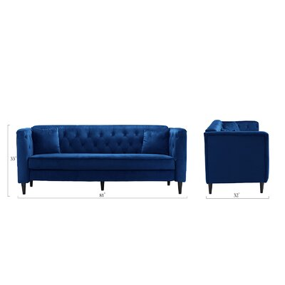 Rickey Tufted Standard Sofa Upholstery: Blue