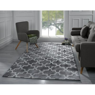 Riddell Moroccan Trellis Gray Area Rug Rug Size: 5 x 7