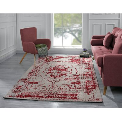 Stonehill Persian Distressed Red Area Rug Rug Size: 5 x 7