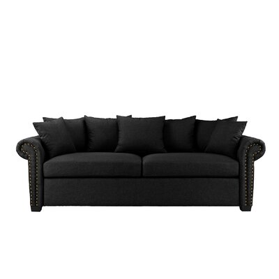 Dunnstown Classic Scroll Arm Standard Sofa Upholstery: Black
