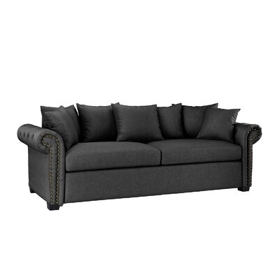 Dunnstown Classic Scroll Arm Standard Sofa Upholstery: Dark Gray