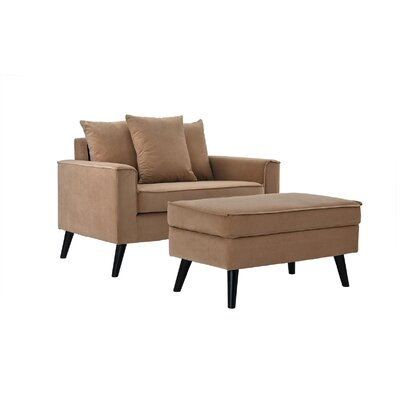 Artiaga Armchair and Ottoman Upholstery: Brown