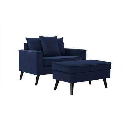 Artiaga Armchair and Ottoman Upholstery: Navy