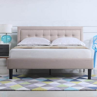 Gibsonburg Low Profile Linen Upholstered Platform Bed Size: Queen, Color: Ivory