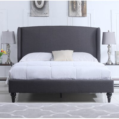 Gibsonburg Linen Upholstered Platform Bed with Shelter Headboard Size: Queen, Color: Gray