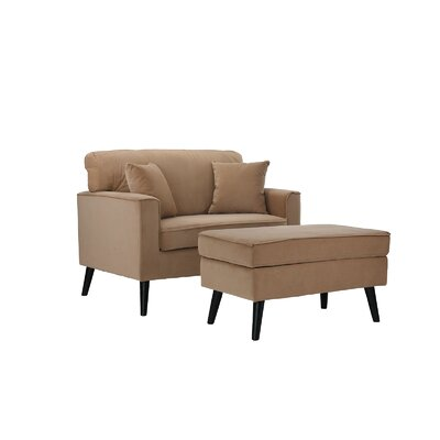 Pogue Arm Chair and Ottoman Upholstery: Brown