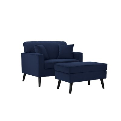 Pogue Arm Chair and Ottoman Upholstery: Royal Blue