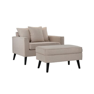 Pogue Arm Chair and Ottoman Upholstery: Beige