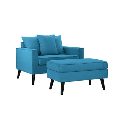 Pogue Arm Chair and Ottoman Upholstery: Sky Blue