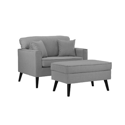 Pogue Arm Chair and Ottoman Upholstery: Light Gray