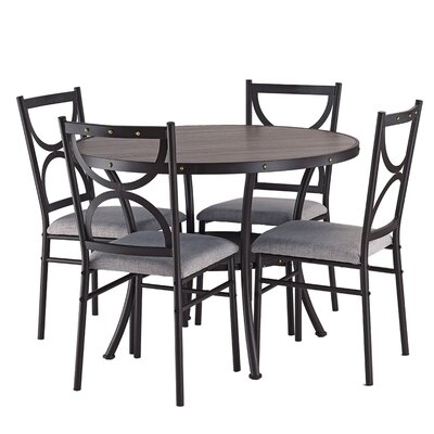 Caran Modern Round 5 Piece Dining Table Set Color: Gray