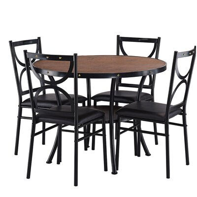 Caran Modern Round 5 Piece Dining Table Set Color: Brown/Black