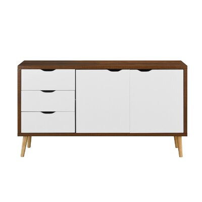 Waites Wooden 59 TV Stand Color: Brown/White