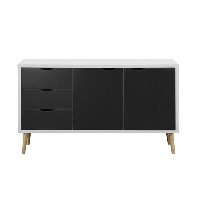Waites Wooden 59 TV Stand Color: White/Dark Gray