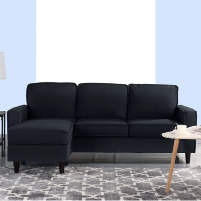 Brzozowski Modern Small Space Sectional Upholstery: Black