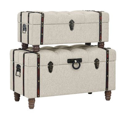 Keystone Tufted Linen 2 Piece Coffee Table Set with Storage Upholstery: Beige