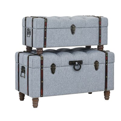 Keystone Tufted Linen 2 Piece Coffee Table Set with Storage Upholstery: Gray