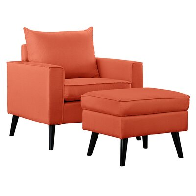 Brisson Arm Chair and Ottoman Upholstery: Orange