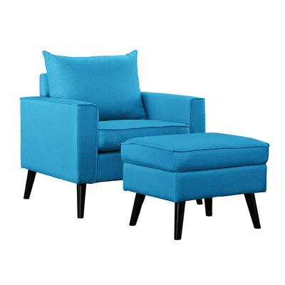 Brisson Arm Chair and Ottoman Upholstery: Sky Blue