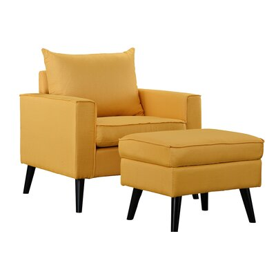 Brisson Arm Chair and Ottoman Upholstery: Yellow