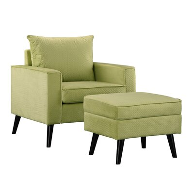 Brisson Arm Chair and Ottoman Upholstery: Green