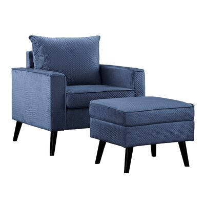 Brisson Arm Chair and Ottoman Upholstery: Navy