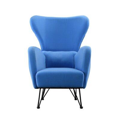 Calhoon Velvet Shelter Wingback Chair Upholstery: Blue