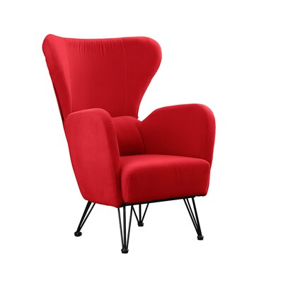 Calhoon Velvet Shelter Wingback Chair Upholstery: Red