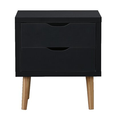 Waltrip Modern 2 Drawer Nightstand Color: Dark Gray