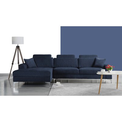 Seaman Modern Large Sectional Upholstery: Navy