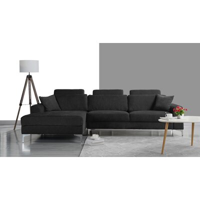 Seaman Modern Large Sectional Upholstery: Dark Gray