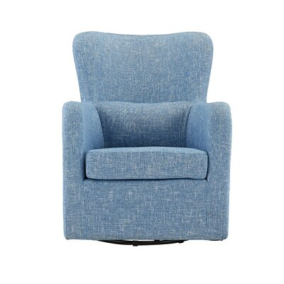 Bibbs Modern Linen Swivel Armchair Upholstery: Light Blue