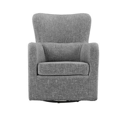 Bibbs Modern Linen Swivel Armchair Upholstery: Light Gray