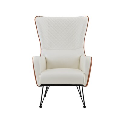 Bianco Mid-Century Faux Leather Wingback Chair Upholstery: Camel/White